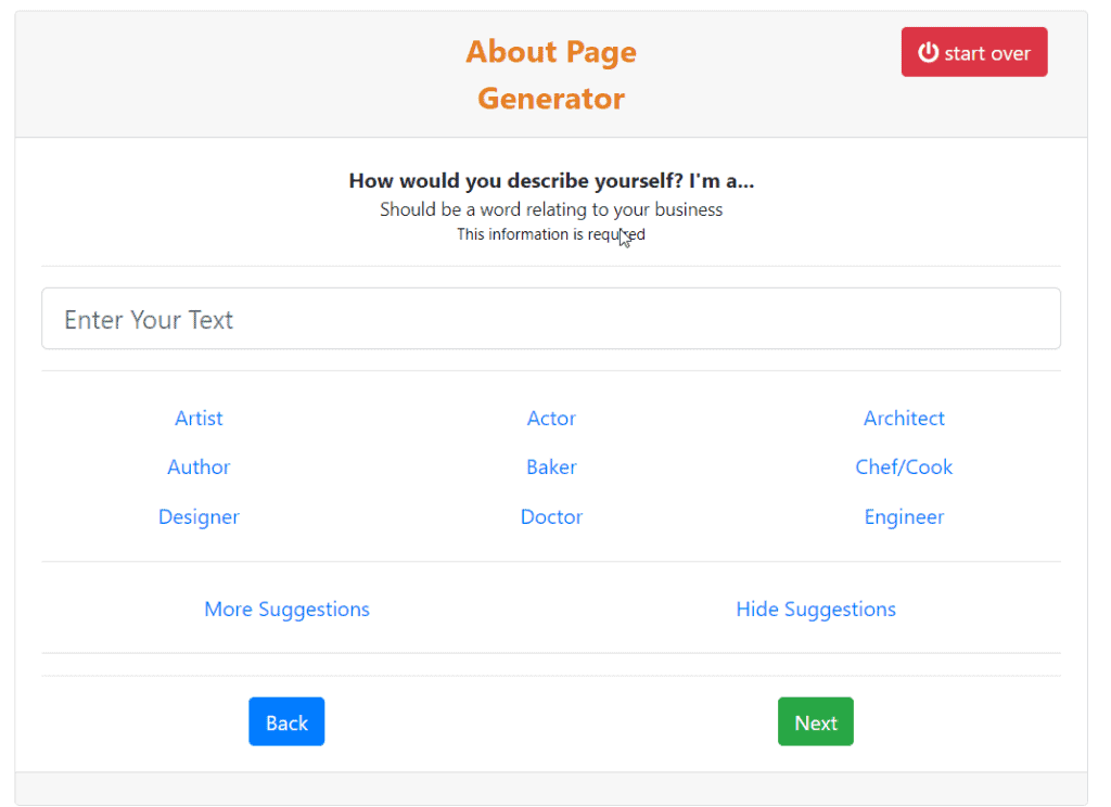 about page generator